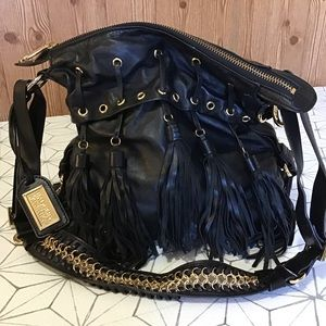 Badgley Mischka Black Tassel Crossbody Bag